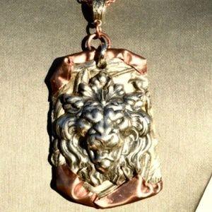 Huge LION Pendant Solid Copper Necklace